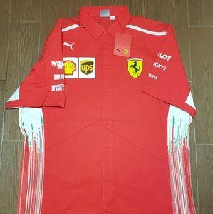 Ferrari Scuderia Formula 1 Mens Red 2018 Button Down Team Shirt w//Sponsors